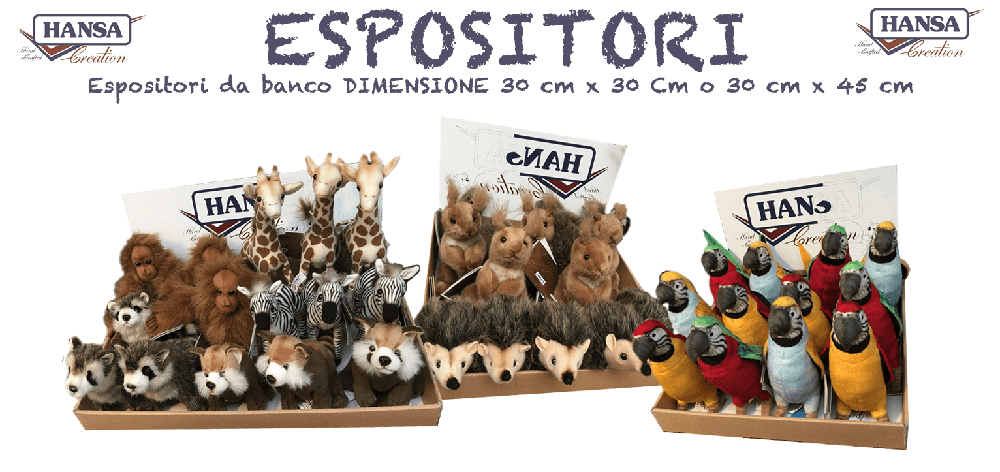 Espositori Hansa Creation con vari animali di Peluches