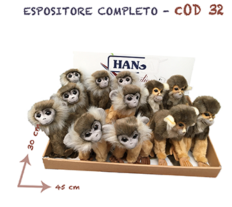 Espositore assortito tema savana safari composto da 12 articoli - 3648 marrone - 3649 beige - 3827 saimiri